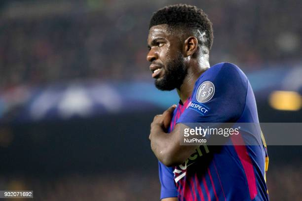 Samuel Umtiti during the UEFA Champions League match between FC Barcelona and Chelsea FC at the Camp Nou Stadium in Barcelona Catalonia Spain on...