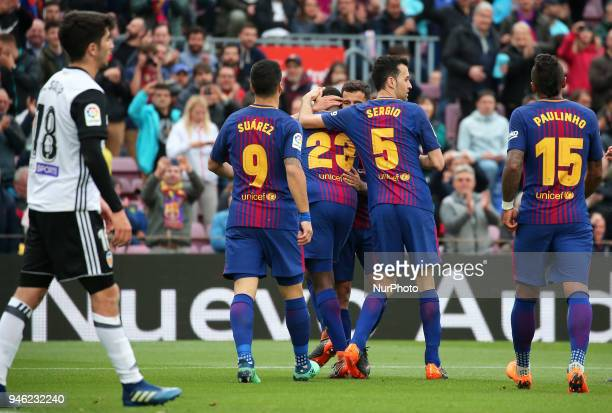 Samuel Umtiti goal celebration during the match between FC Barcelona and Valencia CF played at the Camp Nou Stadium on 14th April 2018 in Barcelona...
