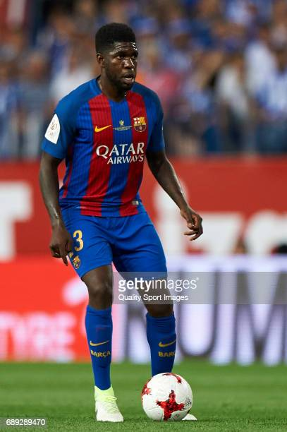 Samuel Umtiti in action during the Copa Del Rey Final match between FC Barcelona and Deportivo Alaves at Vicente Calderon stadium on May 27 2017 in...