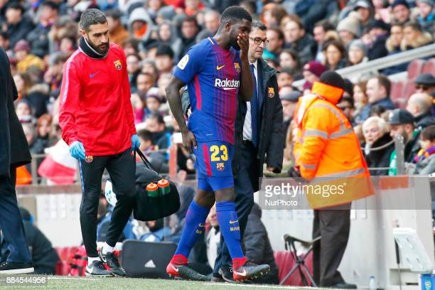 Samuel Umtiti injured during the La Liga match between FC Barcelona v Real Club Celta de Vigo in Barcelona on December 02 2017 Photo Joan...
