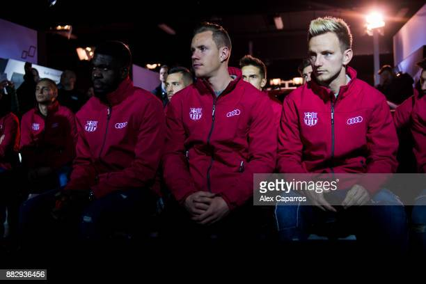 Samuel Umtiti MarcAndre Ter Stegen and Ivan Rakitic of FC Barcelona attend a briefing ahead of the Audi Car handover to the players of FC Barcelona...