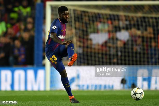 Samuel Umtiti of Barcelna in action during the UEFA Champions League Round of 16 Second Leg match FC Barcelona and Chelsea FC at Camp Nou on March 14...