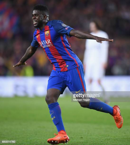 Samuel Umtiti of Barcelona celebrates after the UEFA Champions League Round of 16 second leg match between FC Barcelona and Paris SaintGermain at...