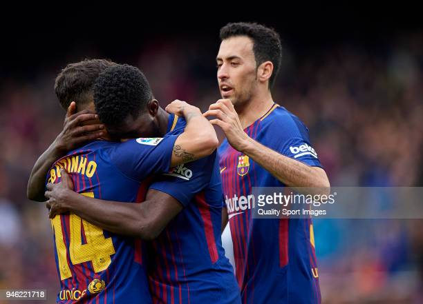 Samuel Umtiti of Barcelona celebrates with his teammates after scoring the second goal during the La Liga match between Barcelona and Valencia at...
