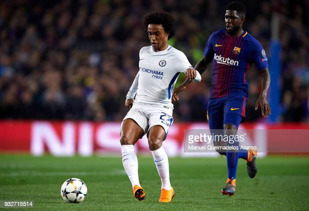 Samuel Umtiti of Barcelona chases down Willian Borges of Chelsea during the UEFA Champions League Round of 16 Second Leg match between FC Barcelona...