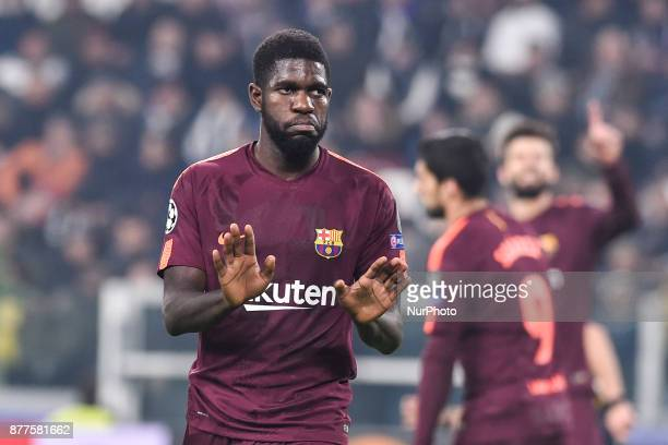 Samuel Umtiti of Barcelona during the UEFA Champions League match between Juventus and Barcelona at the Juventus Stadium Turin Italy on 22 November...