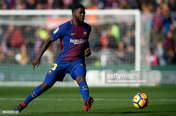 Samuel Umtiti of Barcelona in action during the La Liga match between Barcelona and Celta de Vigo at Camp Nou on December 2 2017 in Barcelona Spain