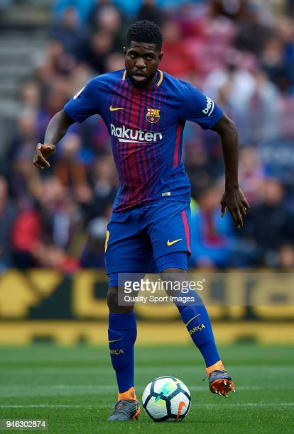Samuel Umtiti of Barcelona in action during the La Liga match between Barcelona and Valencia at Camp Nou on April 14 2018 in Barcelona Spain
