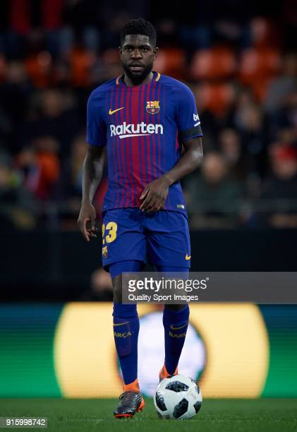 Samuel Umtiti of Barcelona in action during the Semi Final Second Leg match of the Copa del Rey between Valencia CF and FC Barcelona on February 8...
