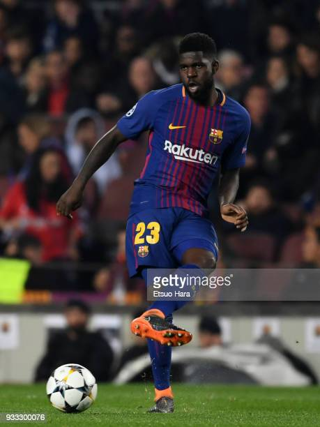 Samuel Umtiti of Barcelona in action during the UEFA Champions League Round of 16 Second Leg match FC Barcelona and Chelsea FC at Camp Nou on March...