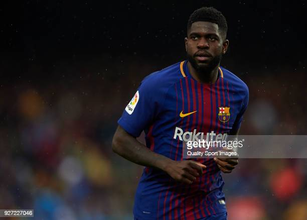 Samuel Umtiti of Barcelona looks on during the La Liga match between FC Barcelona and Atletico de Madrid at Camp Nou on March 4 2018 in Barcelona...