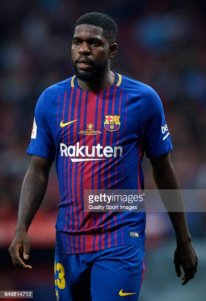 Samuel Umtiti of Barcelona looks on during the Spanish Copa del Rey Final match between Barcelona and Sevilla at Wanda Metropolitano on April 21 2018...