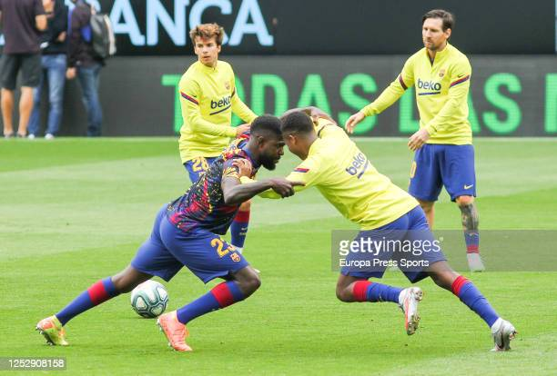 Samuel Umtiti of FC Barcelona and Nelson Semedo of FC Barcelona warms up before during the spanish league, LaLiga, football match played between...