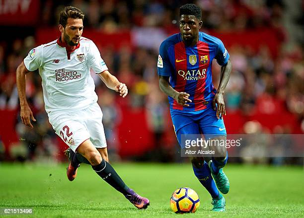 Samuel Umtiti of FC Barcelona being followed by Franco Vazquez of Sevilla FC during the match between Sevilla FC vs FC Barcelona as part of La Liga...