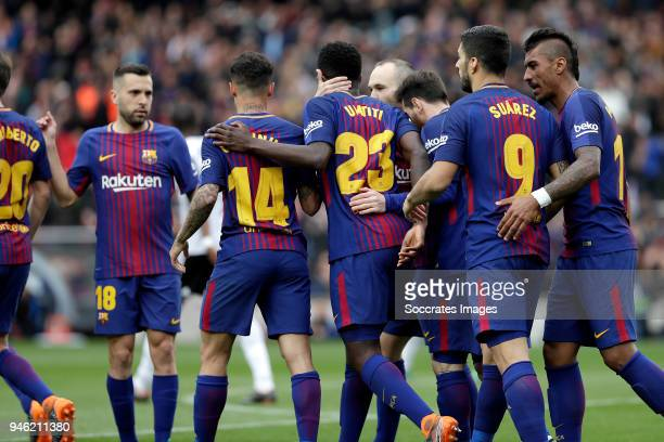 Samuel Umtiti of FC Barcelona celebrates 20 with Jordi Alba of FC Barcelona Philippe Coutinho of FC Barcelona Andries Iniesta of FC Barcelona Lionel...