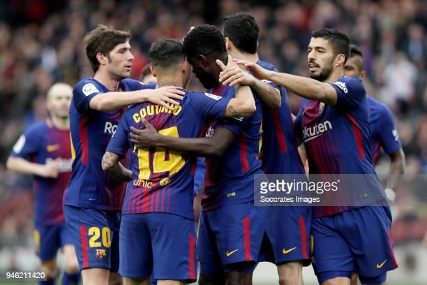 Samuel Umtiti of FC Barcelona celebrates 20 with Sergi Roberto of FC Barcelona Philippe Coutinho of FC Barcelona Sergio Busquets of FC Barcelona Luis...