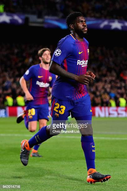 Samuel Umtiti of FC Barcelona celebrates after his sides second goal during the UEFA Champions League Quarter Final first leg match between FC...