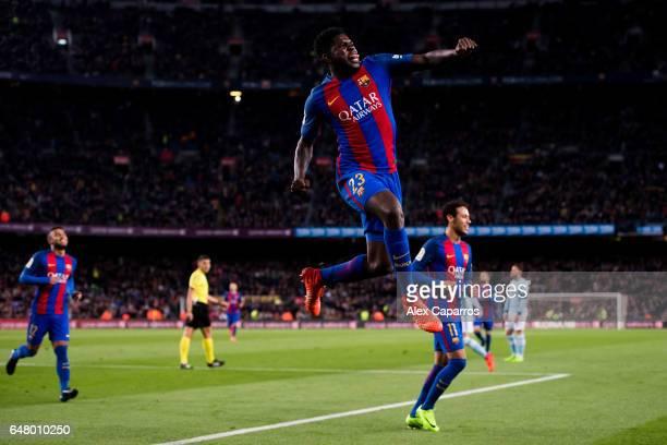 Samuel Umtiti of FC Barcelona celebrates after scoring his team's fourth goal during the La Liga match between FC Barcelona and RC Celta de Vigo at...
