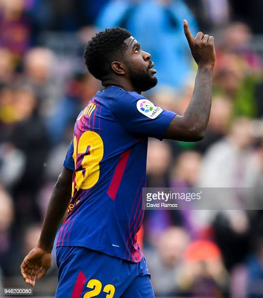 Samuel Umtiti of FC Barcelona celebrates after scoring his team's second goal during the La Liga match between Barcelona and Valencia at Camp Nou on...