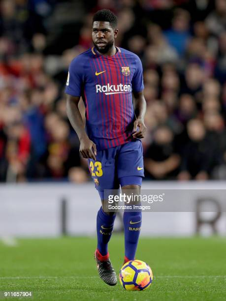 Samuel Umtiti of FC Barcelona during the La Liga Santander match between FC Barcelona v Deportivo Alaves at the Camp Nou on January 28 2018 in...