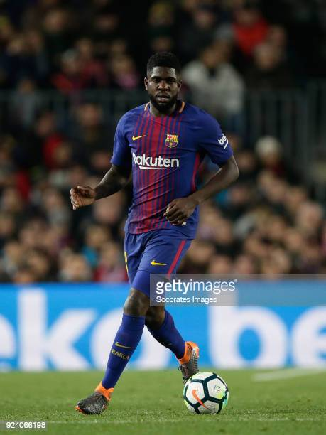 Samuel Umtiti of FC Barcelona during the La Liga Santander match between FC Barcelona v Girona at the Camp Nou on February 24 2018 in Barcelona Spain