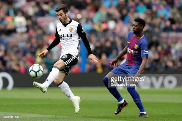 Samuel Umtiti of FC Barcelona during the La Liga Santander match between FC Barcelona v Valencia at the Camp Nou on April 14 2018 in Barcelona Spain