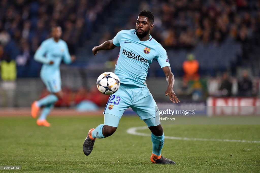 Samuel Umtiti of FC Barcelona during the UEFA Champions League Quarter Final match between Roma and FC Barcelona at Stadio Olimpico, Rome, Italy on 10 April 2018.