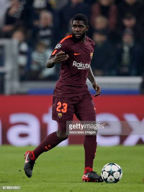 Samuel Umtiti of FC Barcelona during the UEFA Champions League match between Juventus v FC Barcelona at the Allianz Stadium on November 22 2017 in...