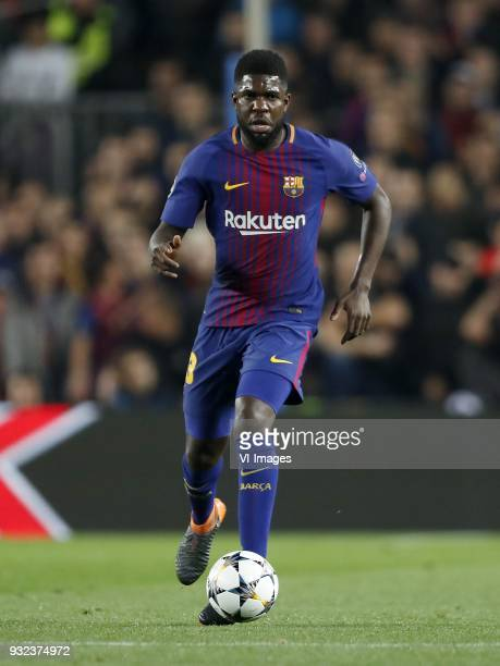 Samuel Umtiti of FC Barcelona during the UEFA Champions League round of 16 match between FC Barcelona and Chelsea FC at the Camp Nou stadium on March...