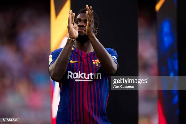 Samuel Umtiti of FC Barcelona enters the pitch ahead of the Joan Gamper Trophy match between FC Barcelona and Chapecoense at Camp Nou stadium on...