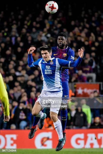 Samuel Umtiti of FC Barcelona fights for the ball with Gerard Moreno Balaguero of RCD Espanyol during the Copa del Rey 201718 match between FC...