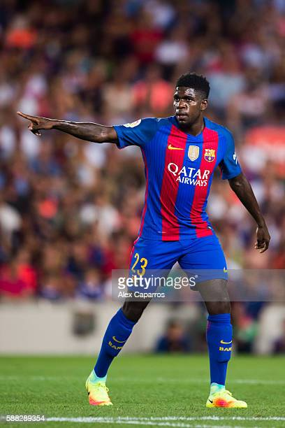 Samuel Umtiti of FC Barcelona gestures during the Joan Gamper trophy match between FC Barcelona and UC Sampdoria at Camp Nou on August 10 2016 in...