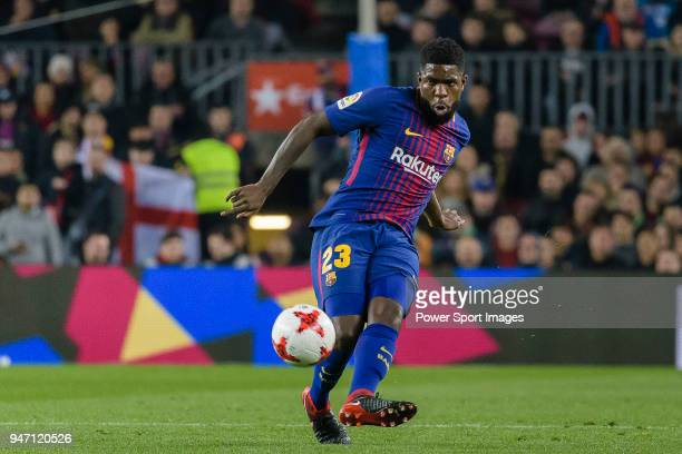 Samuel Umtiti of FC Barcelona in action during the Copa del Rey 201718 match between FC Barcelona vs RCD Espanyol at Camp Nou on 25 January 2018 in...