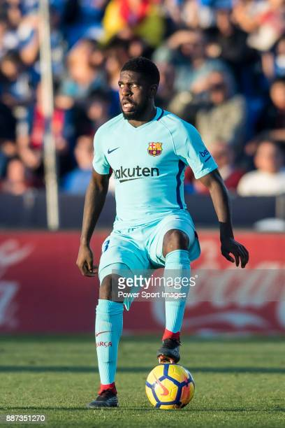 Samuel Umtiti of FC Barcelona in action during the La Liga 201718 match between CD Leganes vs FC Barcelona at Estadio Municipal Butarque on November...