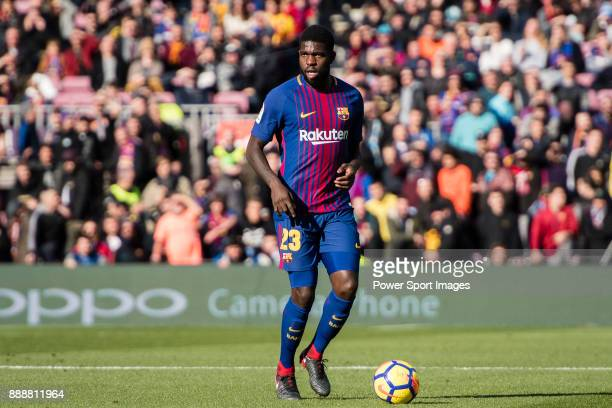 Samuel Umtiti of FC Barcelona in action during the La Liga 201718 match between FC Barcelona and RC Celta de Vigo at Camp Nou Stadium on 02 December...