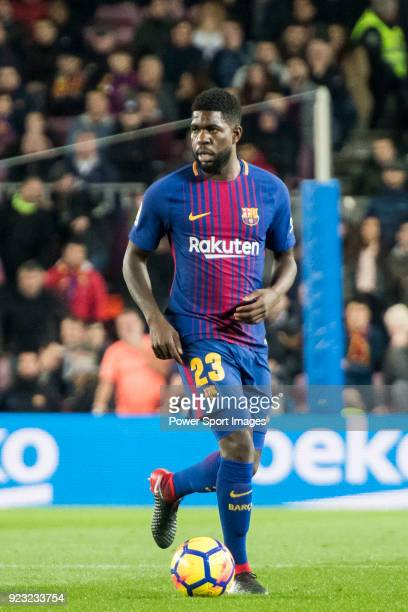 Samuel Umtiti of FC Barcelona in action during the La Liga 201718 match between FC Barcelona and Deportivo Alaves at Camp Nou on 28 January 2018 in...