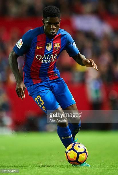 Samuel Umtiti of FC Barcelona in action during the match between Sevilla FC vs FC Barcelona as part of La Liga at Ramon Sanchez Pizjuan Stadium on...