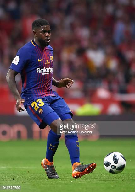 Samuel Umtiti of FC Barcelona in action during the Spanish Copa del Rey match between Barcelona and Sevilla at Wanda Metropolitano on April 21 2018...