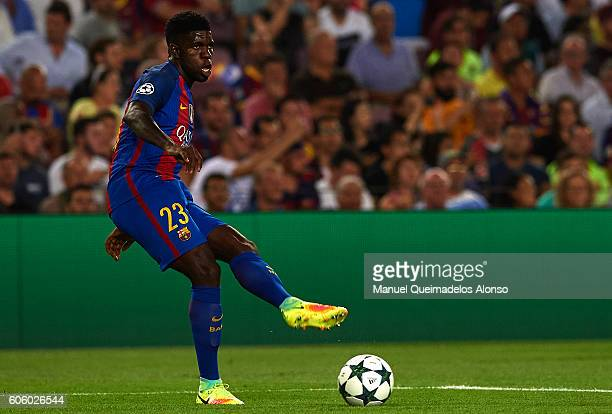 Samuel Umtiti of FC Barcelona in action during the UEFA Champions League Group C match between FC Barcelona and Celtic FC at Camp Nou on September 13...
