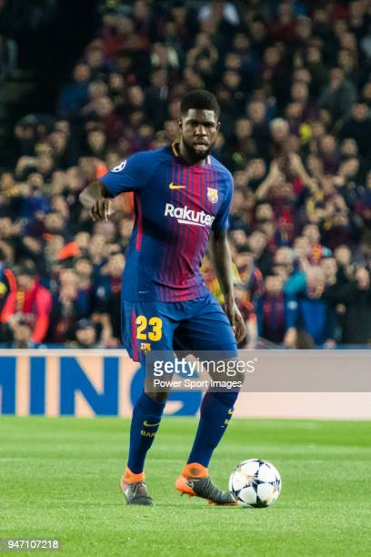 Samuel Umtiti of FC Barcelona in action during the UEFA Champions League 201718 Round of 16 match between FC Barcelona and Chelsea FC at Camp Nou on...