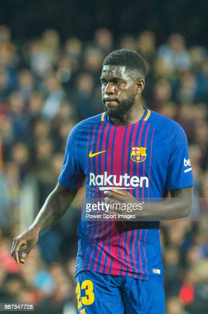 Samuel Umtiti of FC Barcelona is seen during the La Liga 201718 match between Valencia CF and FC Barcelona at Estadio de Mestalla on November 26 2017...