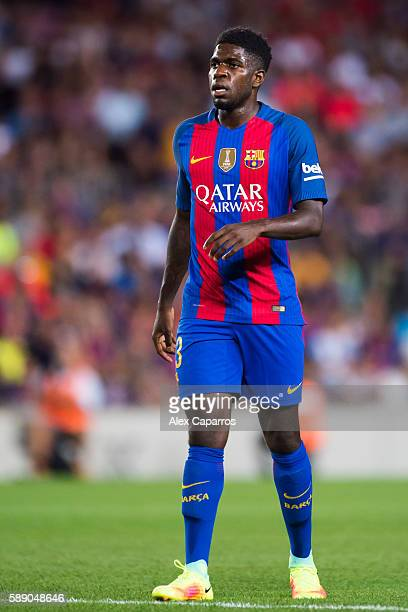 Samuel Umtiti of FC Barcelona looks on during the Joan Gamper trophy match between FC Barcelona and UC Sampdoria at Camp Nou on August 10 2016 in...