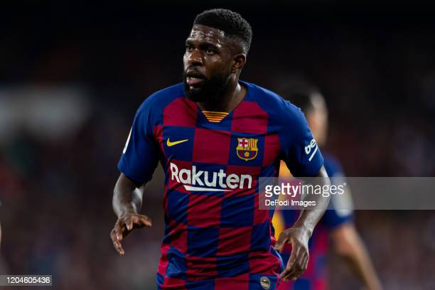 Samuel Umtiti of FC Barcelona looks on during the Liga match between Real Madrid CF and FC Barcelona at Estadio Santiago Bernabeu on March 1 2020 in...