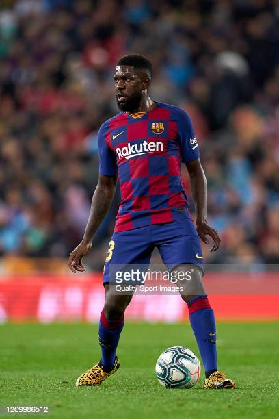 Samuel Umtiti of FC Barcelona looks on during the Liga match between Real Madrid CF and FC Barcelona at Estadio Santiago Bernabeu on March 01 2020 in...