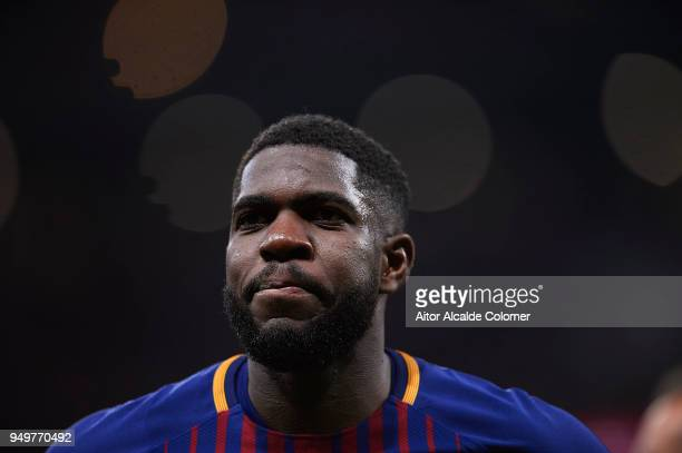 Samuel Umtiti of FC Barcelona looks on during the Spanish Copa del Rey match between Barcelona and Sevilla at Wanda Metropolitano on April 21 2018 in...