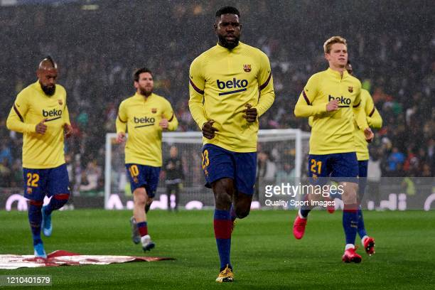 Samuel Umtiti of FC Barcelona looks on prior the game during the Liga match between Real Madrid CF and FC Barcelona at Estadio Santiago Bernabeu on...