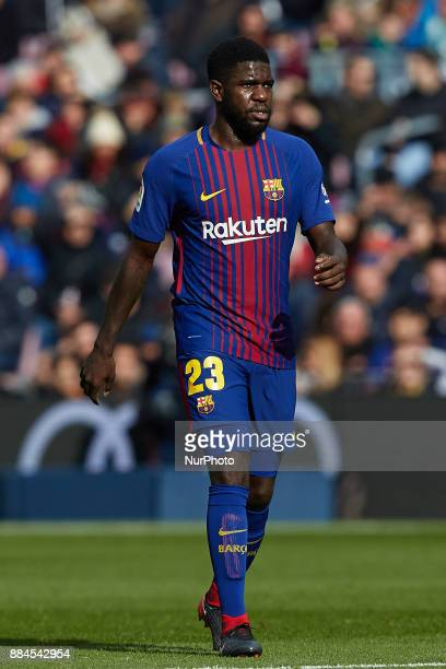 Samuel Umtiti of FC Barcelona looks on uring the La Liga match between FC Barcelona and Real Celta de Vigo at Camp Nou on December 2 2017 in...