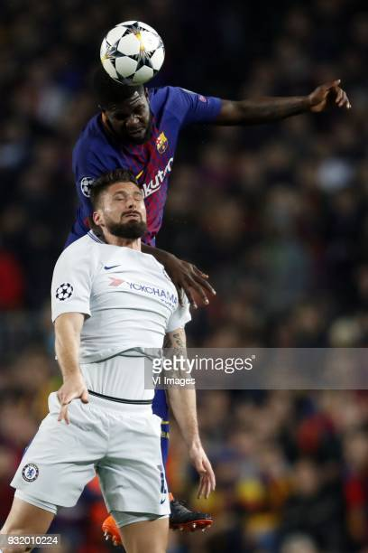 Samuel Umtiti of FC Barcelona Olivier Giroud of Chelsea FC during the UEFA Champions League round of 16 match between FC Barcelona and Chelsea FC at...