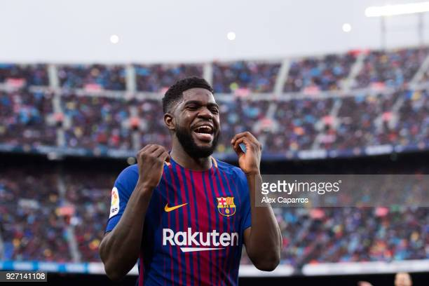 Samuel Umtiti of FC Barcelona reacts during the La Liga match between Barcelona and Atletico Madrid at Camp Nou on March 4 2018 in Barcelona Spain