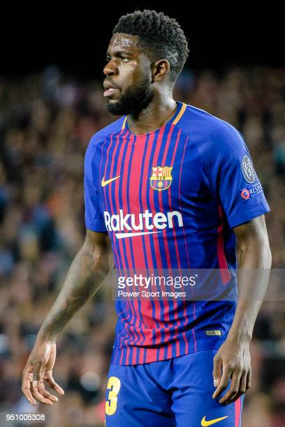 Samuel Umtiti of FC Barcelona reacts during the UEFA Champions League 201718 quarterfinals match between FC Barcelona and AS Roma at Camp Nou on 05...